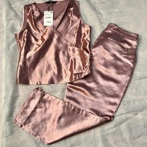 SALE TODAY ONLY! Zara basic pink metallic outfit!